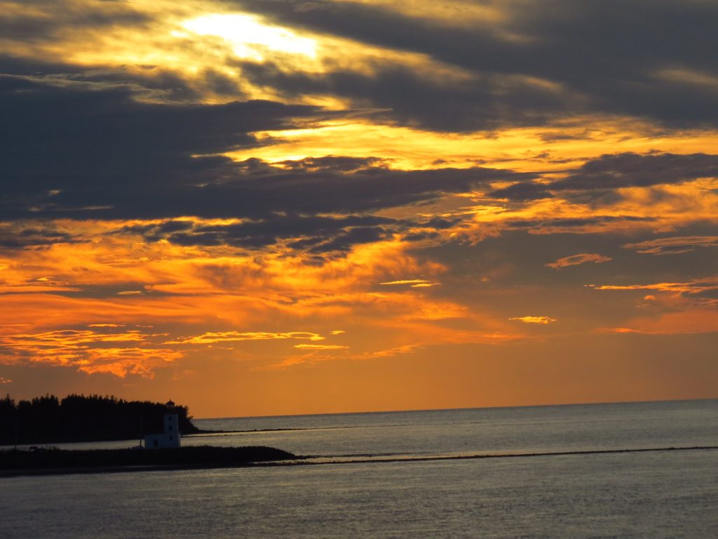 Sun setting on way to PEI