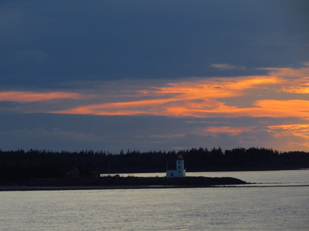 LIghthouse with sunset on way to PEI