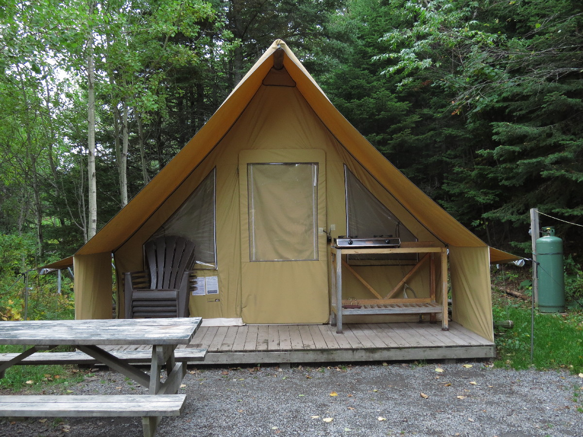 Huttopia tent in Parc National Du Bic, Quebec