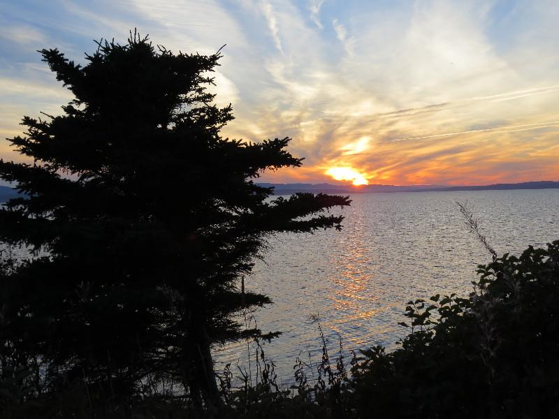 Sun setting over Forillon National Park, QC, Gaspe Peninsula