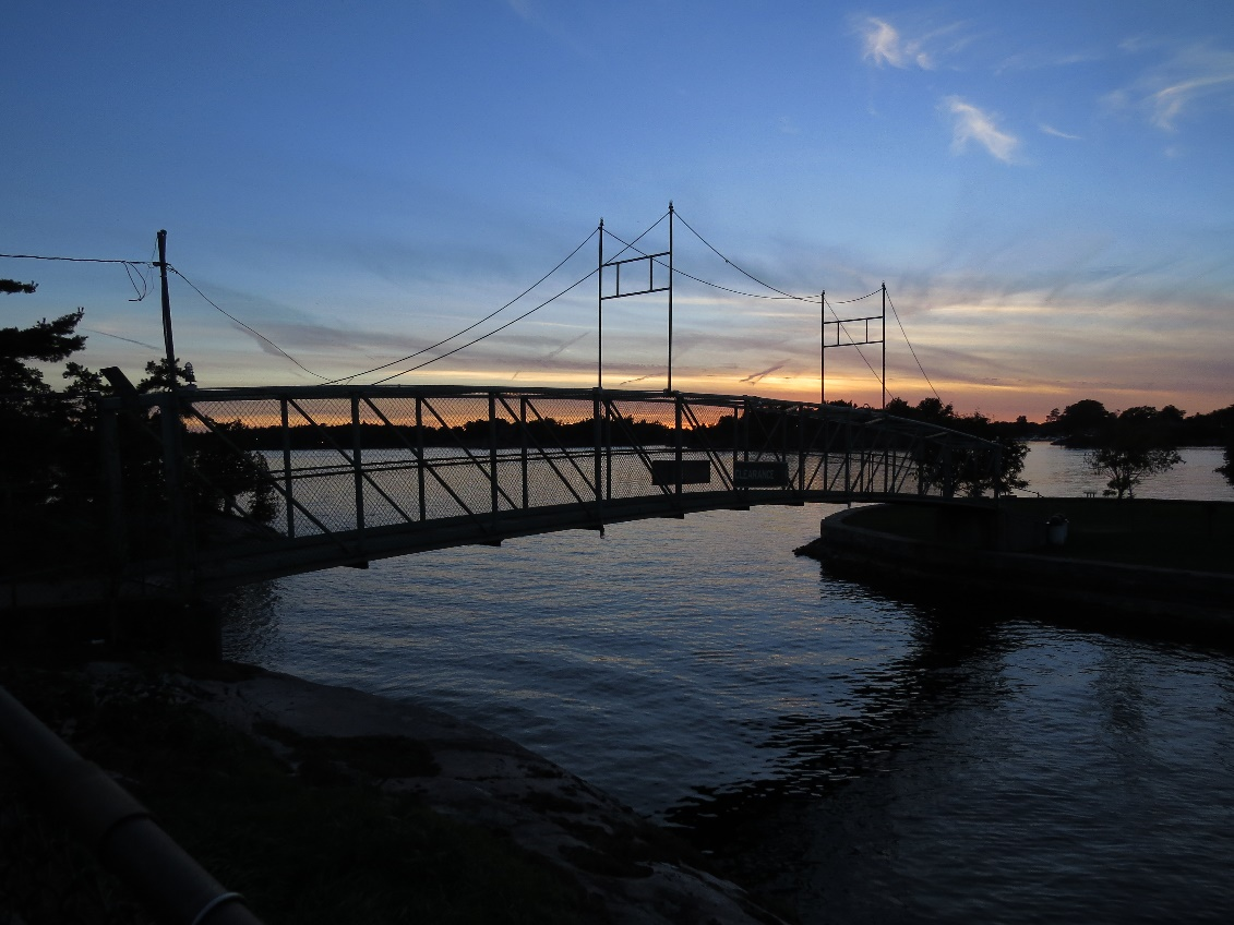 Bridge to Casino Island against sunset, NYS