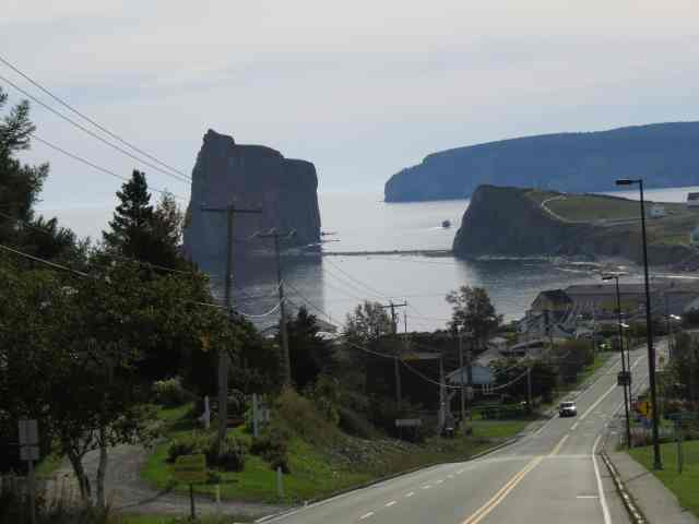 The Perce Rock viewed from the 132, Gaspe Peninsula, QC, Canada