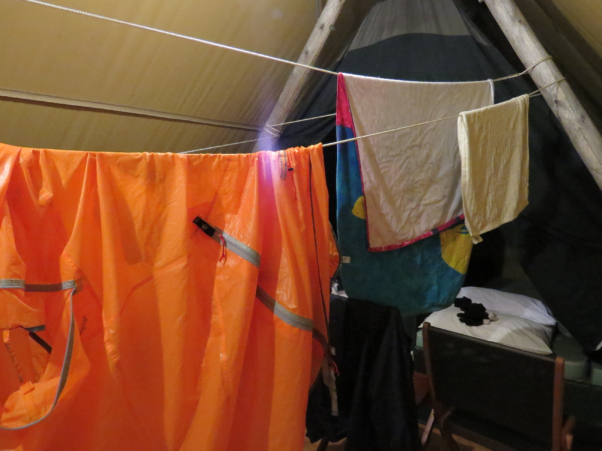 Drying my tent in Huttopia, Parc National du Bic, Quebec