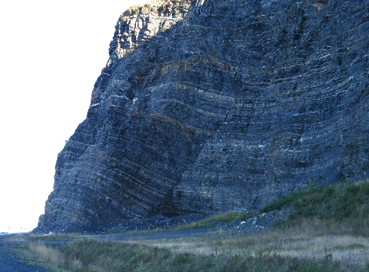 Geological stratification in cliffs along Route 132, Gaspe Peninsula, QC