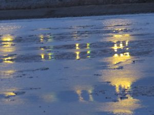 Night lights reflecting in water, Eilat