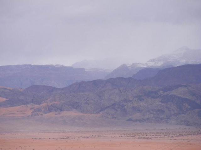 Hazy mountain view with snow, Edom 2013