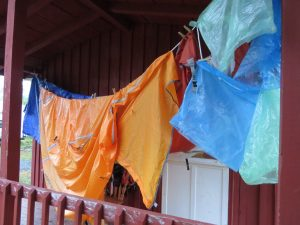 Drying tent on front porch of dry cabin at WOW private campground, Truro, NS