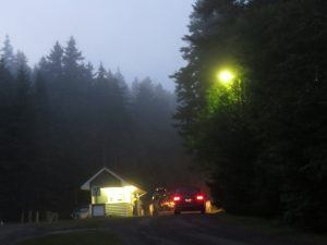 Rangers station in fog at dusk, Point Wolfe, Fundy National Park