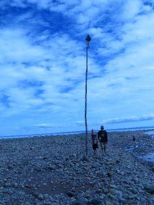 Tide pole at low tide, Alma, NB