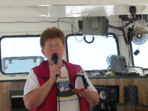 Donelda explaining about sealife. Donelda's Puffin Tours, NS