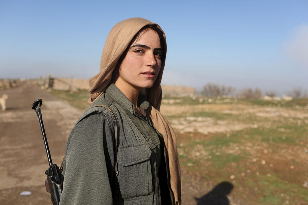 Kurdish female fighter, Kobani.