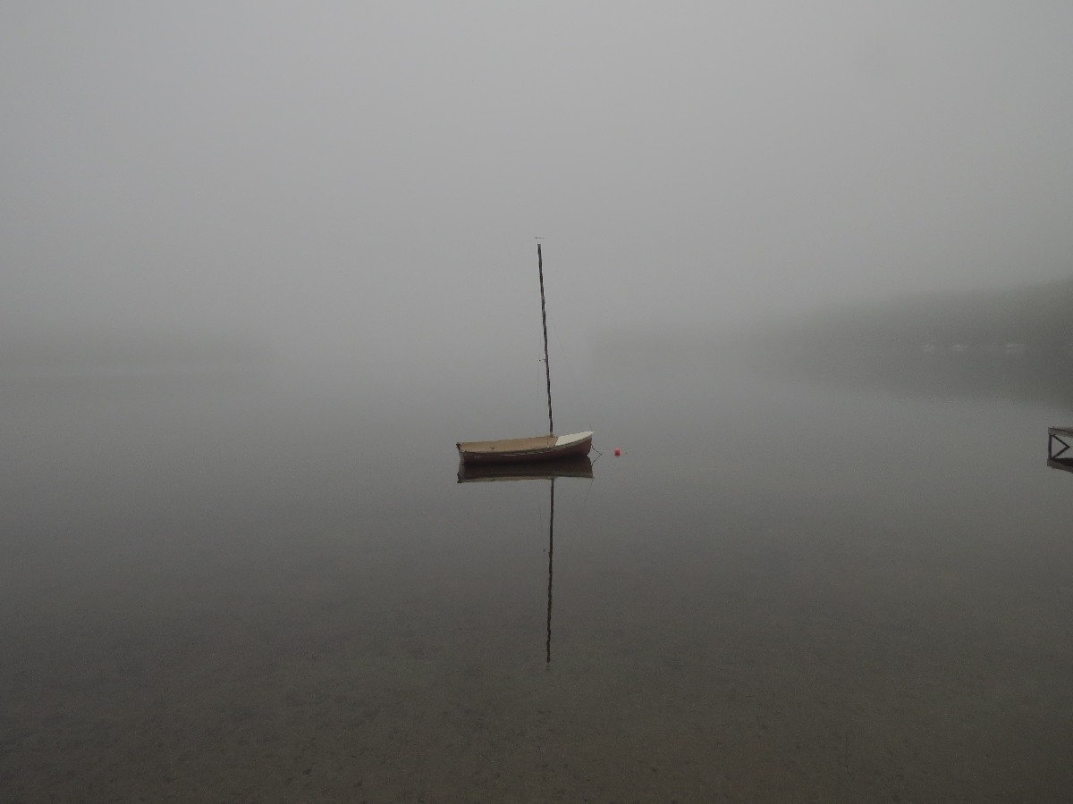 Sailboat In Fog, Kennebunk Pond