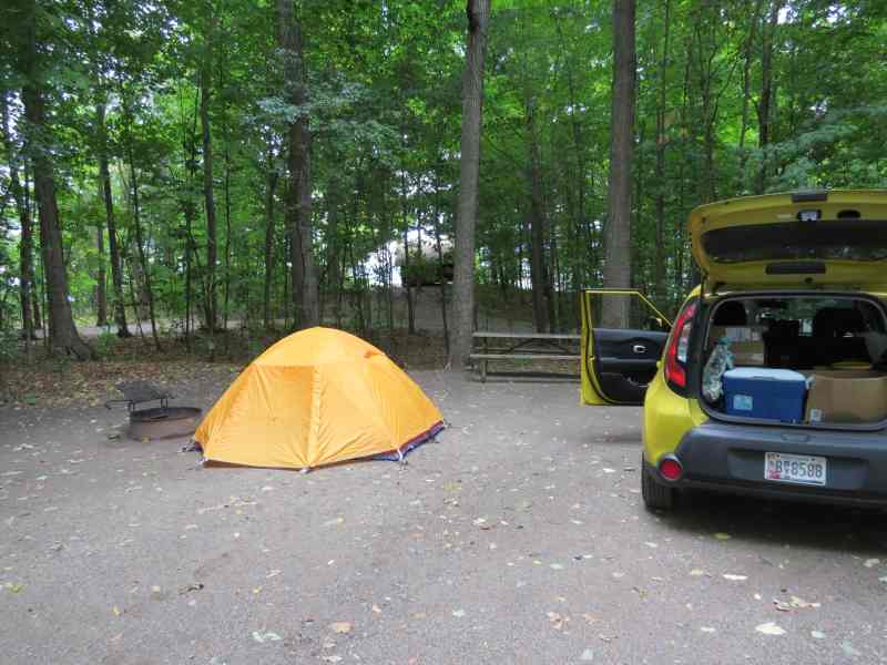 Kia Soul and Easton tent at lake campground on Grand Isle, VT