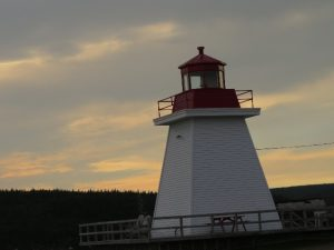 Neil's Harbor lighthouse against a darkening sky, Cape Breton's east coast