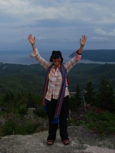 Getting a wide vista from the top of Mount Franey, Cape Breton, NS