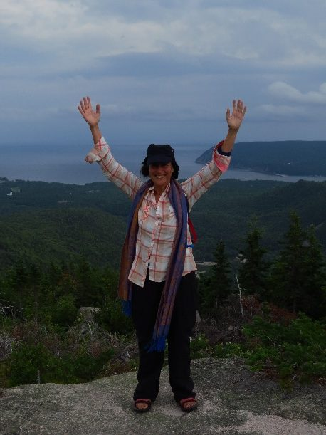 Reaching the top of Mount Franey, Cape Breton, NS, Canada