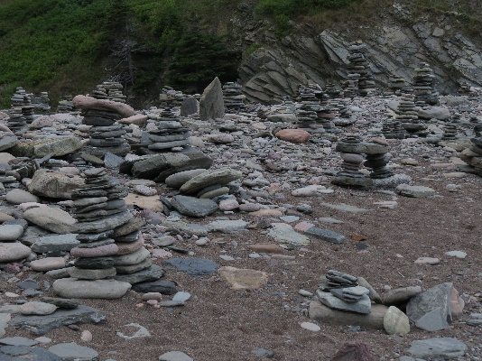 Cairns on beach, Meat Cove, Cape Breton