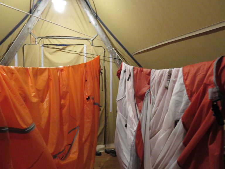 Tent and rain jacket drying in Huttopia at Parc National du Bic, Quebec