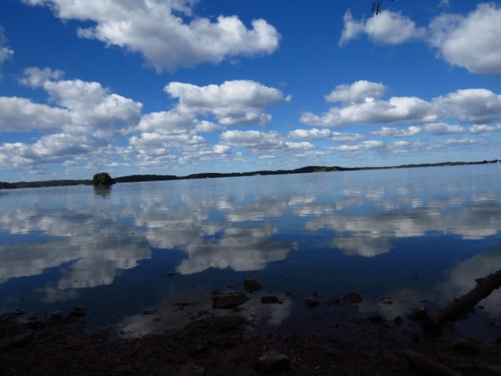 Cloud reflection in pond, Welleseley Island, NYS