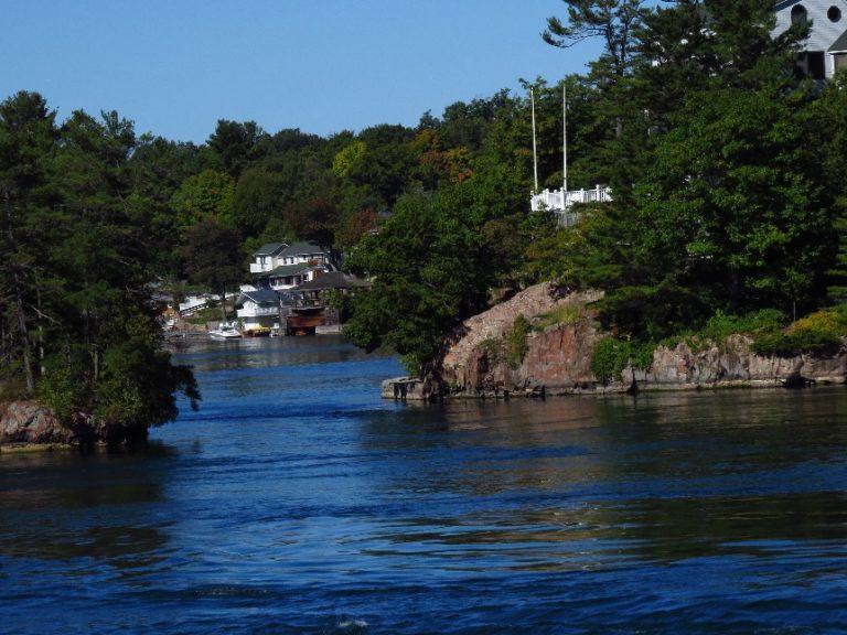 Narrows in between islands, 1000 Islands Tour