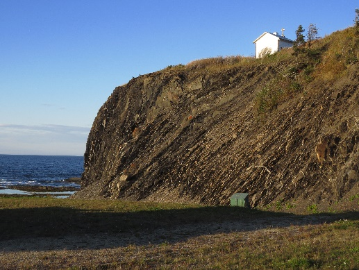 Tilted Geological Strata In Cliffs By Road 132, Gaspe QC