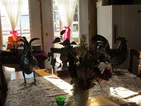 Decorated dining table, B&B , Route 132, Gaspe Peninsula, QC