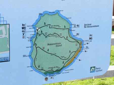 Map of Bonaventure Island trails, Gaspe Peninsula, QC, Canada
