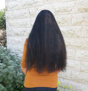 Back view of hair, in front of house