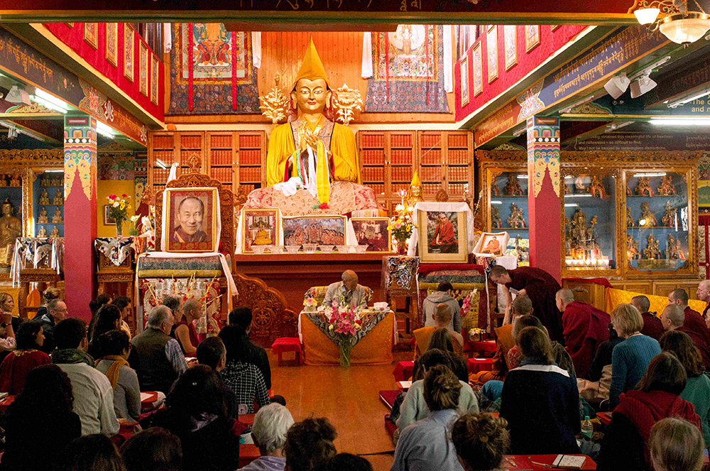 Main gompa, Tushita Meditation Center, Dharamkot, Dharamsala,