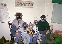 An Israeli family with gas masks in a sealed room, Gulf War 1991.