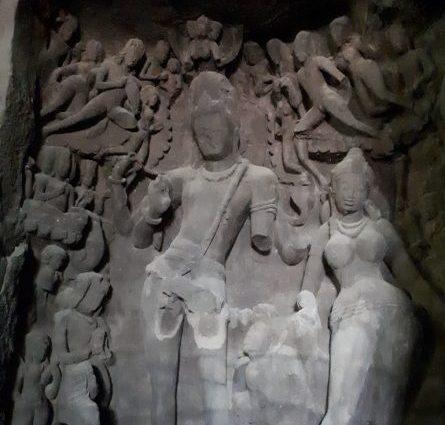 Gangadhara Siva with Parvati. Elephanta Island, Maharashtra