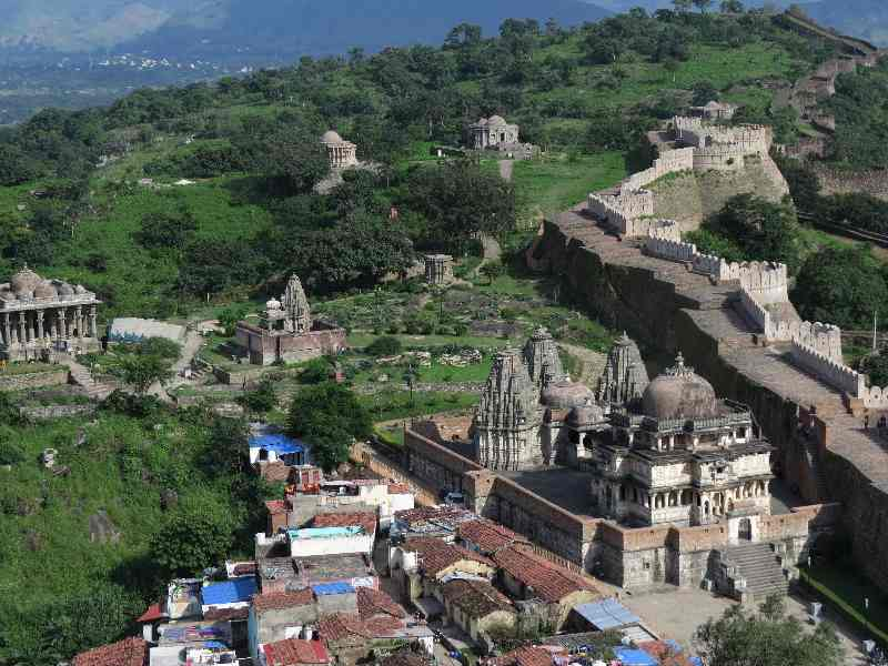 Shiva and Jain temples viewed from road to Kumbhalgarth Fort, Rajasthan