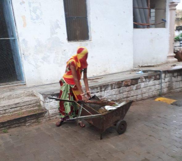 Veiled street cleaner, Pushkar, Rajasthan