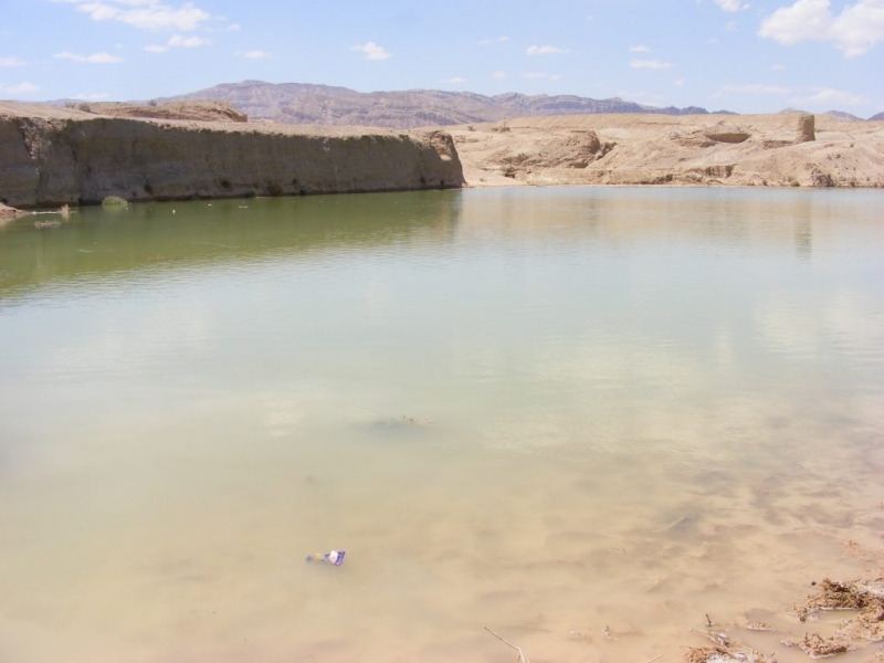 """Paleolithic lake"" near Eilat restored in flash floods. Nov 2013."