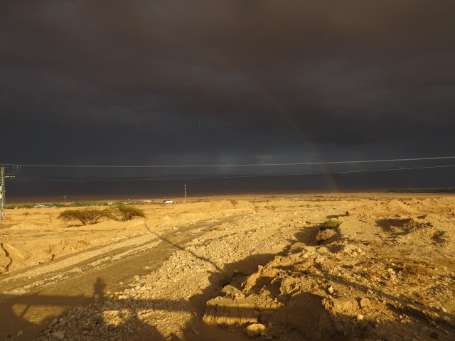 Noah's rainbow in desert with dark clouds. Aug. 2014. Arava.
