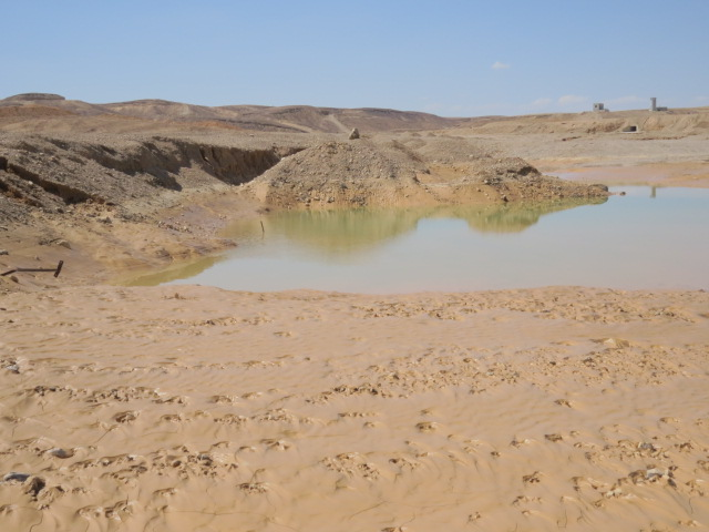 Rain puddle in muddy terrain following intense rains, Oct. 2014, Off route 12, Arava