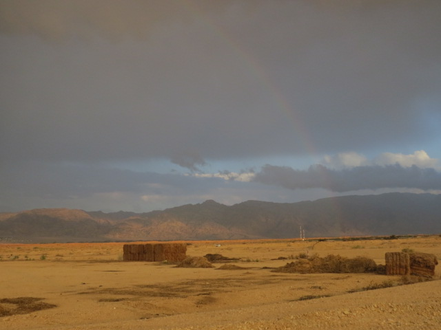Rainbows and hay stacks. Behind Grofit. August, 2014. Arava
