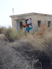 Abandoned military structure with desert bushes and female mural. Kalya