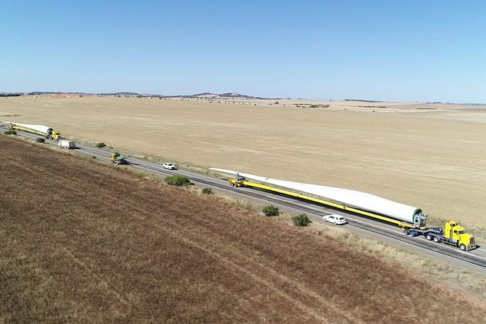 Truck Carrying Wind Turbine Blade Across Australia