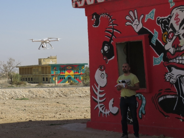 Play drone with Palestinian owner. Old Jordanian base, Project Gallery Minus 430. Kalya