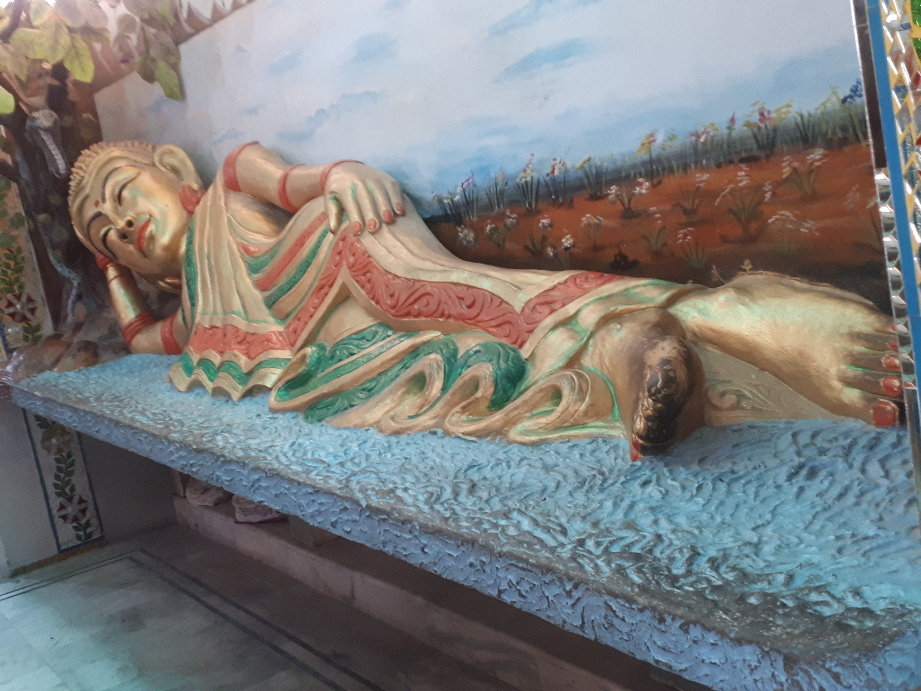 The spiritual salad. Reclining effeminate Buddha at Ladies temple, Amritzar
