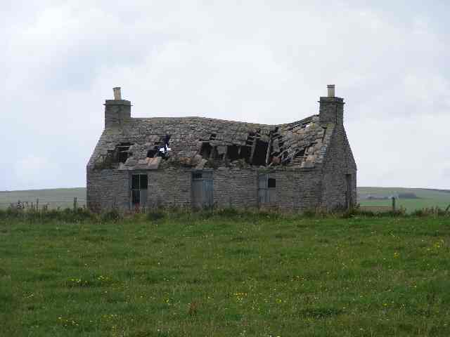 Dilapidated barn and treeless spaces, Orkneys, Scotland, UK