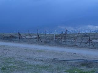 Border fences towards Jordan