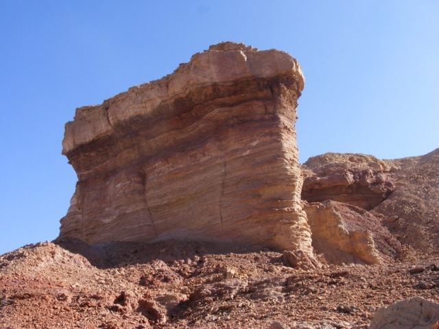 Eroded, standing strong. Painted Desert. Arava,Israel