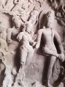 Kalyan Shiva avatar, marrige with Parvati. Elephanta Island by Mumbai. Maharashtra