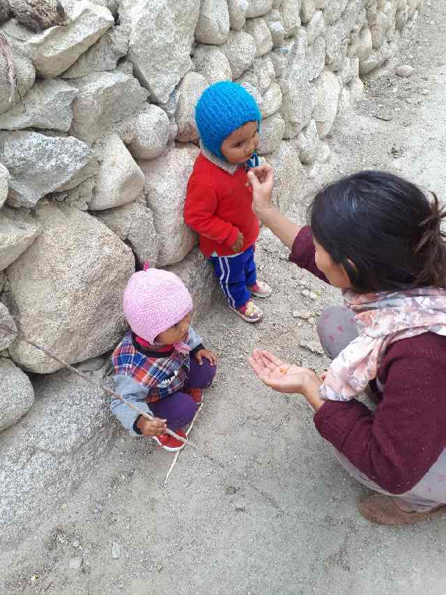 Rin Chang taking babies for a morning walk to pick berries. Likir, Ladakh.