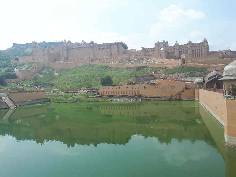 Pool beneath Amber Fort near Jaipur, Rajasthan, India