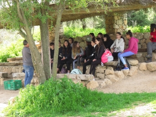 School kids on a visit to Neot Kedumim