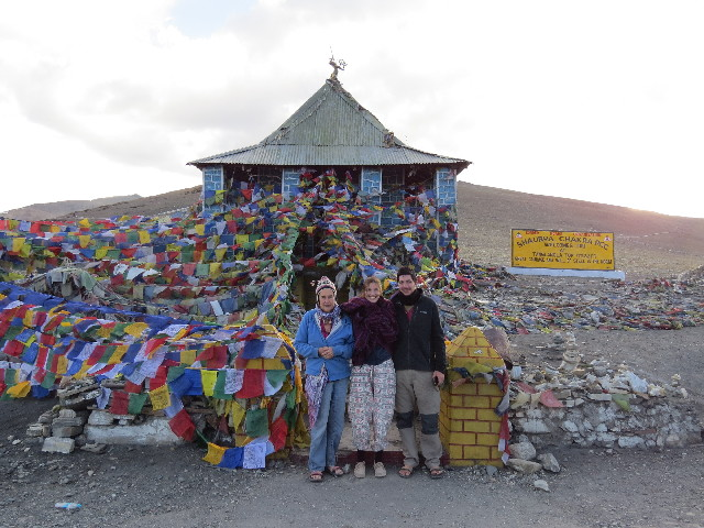 Nicky, Yair, Oriti at Tanglangla mountain pass, Ladakh