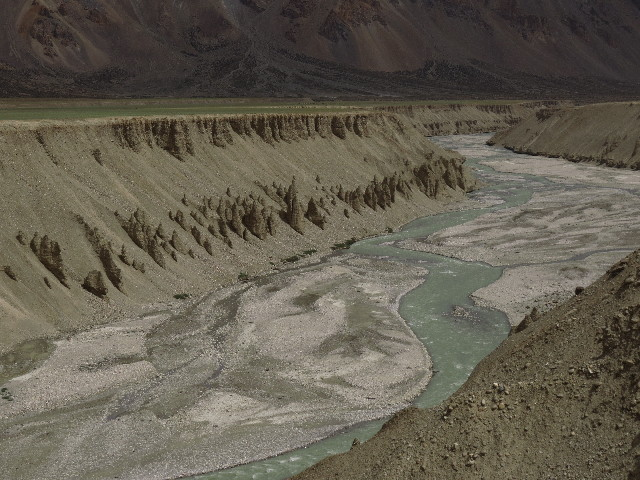 Pins, erosion, river on the Manali-Leh road